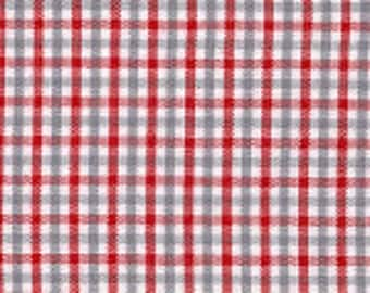 Fabric Finders Small Red Gray White Tri-check