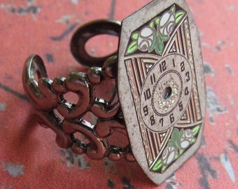Steampunk Watch Face Ring Gorgeous Detail R 40