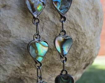 Beautiful Abalone Heart Dangle  Earrings E 55
