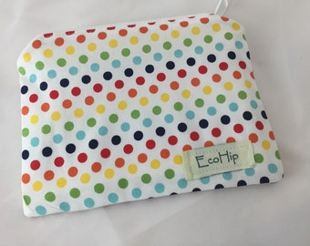 Small Zipper Pouch - Small Stand Alone Zipper Pouch - Rainbow Polka Dots  - Ready to Ship