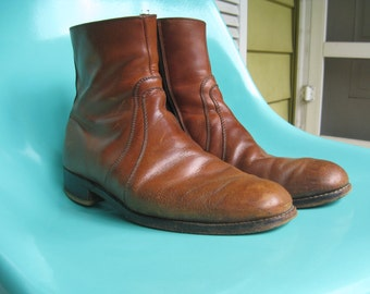 Leather Ankle Boots Cognac Mens size 8 womens size 10
