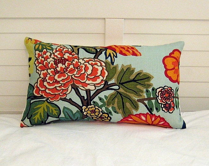 Special Order for Teresa -Schumacher Chiang Mai Dragon in Aquamarine Designer Lumbar Pillow Cover with Navy Linen Piping