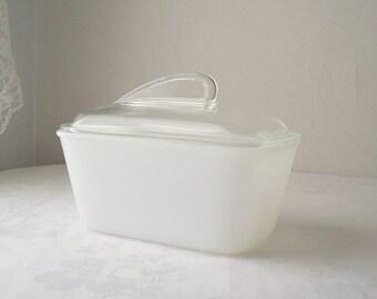 white milk glass glasbake refrigerator dish with lid - glassbake dish with clear lid - glasbak