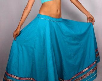 India Zardozi Trim Fusion Belly Dance Skirt in Turquoise