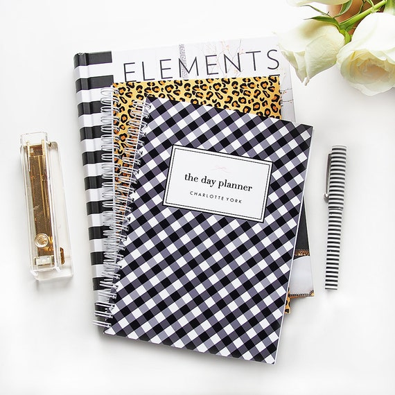 Planner Personalized Day Planner Gingham Checks Custom