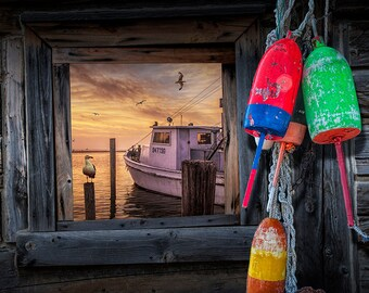 Fishing Buoys hanging by a Window overlooking Fishing Boat and Gulls in the Harbor No.0332 A Seascape Nautical Still Life Photograph