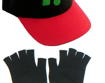 Ash Ketchum Battle Frontier Hat and Gloves set  Halloween costume Pokemon Adult gloves