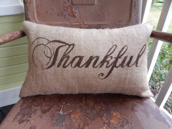 Thankful In Script Lumbar Style Fall Thanksgiving Painted