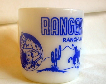 Vintage RANGER JOE Child Size Milk Glass Mug Mid Century Cowboy Cereal Premium Hazel Atlas in Great Condition