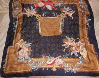 Scarf Brown with Angels Silk hand rolled Vintage