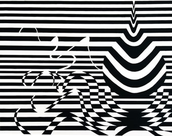 9x12 Ink drawing Print abstract black and white optical illusion Drip Raindrop