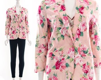 Vintage 90s Blossom Floral PInk Blazer Tuxedo Mash Up Pink Roses Coat Jacket Small Medium