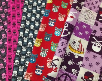 "USD5 - Scrap bundle - cool skull - 5 pieces  (46cm x 27cm) - 30% off - sale - cotton - Check out with code ""5YEAR"""