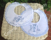 Set of Two Mongrammed Scalloped Edge Cotton Bibs For Baby Boy