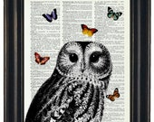 BOGO SALE Owl Dictionary Art Print with HHP Signature Butterflies Wall Decor Dictionary Print Book Page Print Dictionary Prints