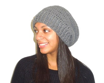 Crochet Slouchy Hat, Women, Men, Teen, Slouchy Hat, Tam,  Adult, Gray,Ribbed
