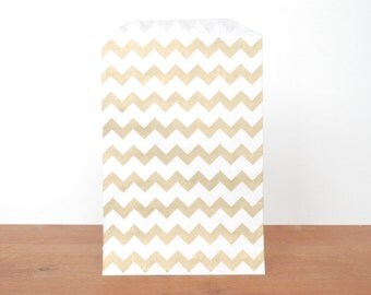 goody bags treat bags: 10 gold gift bags, gold striped chevron, favor bags