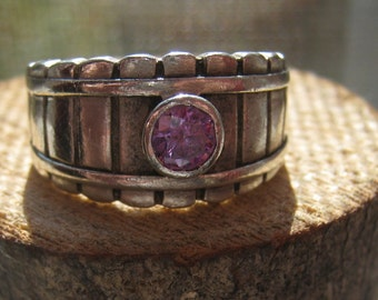 Vintage Sterling Silver Ladies Womens Ring with Lab Created Amethyst Color Stone Size 7 3/4