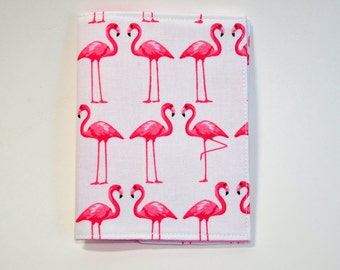 Passport Cover Sleeve Case holder Fabric pink flamingos on white