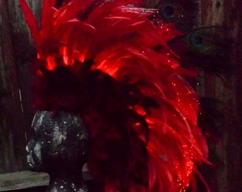 LED Feather Mohawk Headdress with Fiber Optic lighting, Red, Blue, White, Green