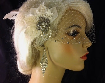Birdcage Veil, Bridal Veil and Bridal Clip, Bandeau Birdcage Veil, Blusher,  Ivory Feather Hair Clip, Swarovski Crystals and Pearls