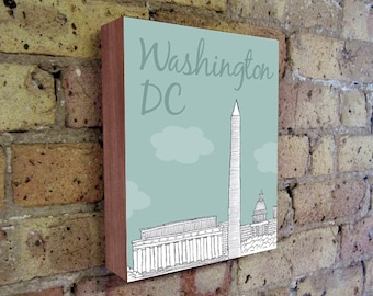Washington DC - Washington DC Art - Skyline Art - Washington DC Illustration Art - Wood Block Wall Art Print - City Art
