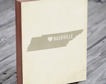 Nashville Art - Nashville Print - Nashville Map - Wood Block Art Print