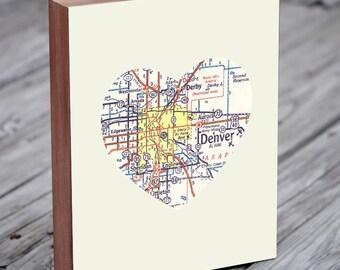 Denver Map - Denver Art - Denver Wall art - City Heart Map - Wood Block Art Print