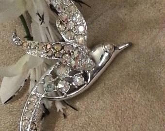 "Sarah Coventry, Hummingbird Brooch, ""Bird In Flight"", Mint Condition, Rhinestone, Aurora Borealis"