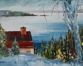 "First Snow in Charlevoix, Canadian landscape - Original oil painting on canvas - Home decor  10"" X 12"""