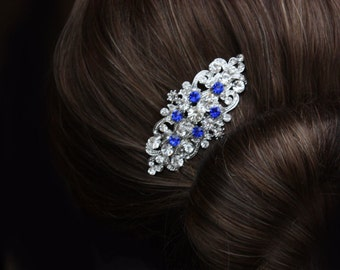 sapphire blue crystal rhinestone bridal hair comb royal blue rhinestone silver hair comb blue wedding hair comb bridal hair accessories blue