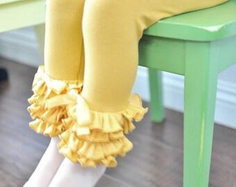 Mustard Yellow Leggings with Full Ruffles /Girls Leggings / Ruffle Leggings for Girls