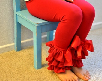Red Leggings with Large Triple Ruffles and Large Bows / Girls Leggings / Ruffle Leggings for Girls