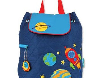 SHIPS NEXT DAY--Personalized Monogrammed Stephen Joseph Quilted Toddler *New Pattern* Space Rocket Backpack--Free Monogramming--
