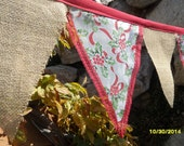 Christmas Holly Berry Ribbon Lace & Burlap Bunting Banner Decoration 15' Glitter Garland