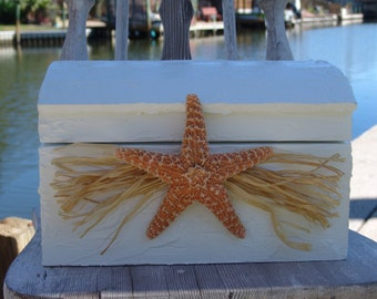 Small Beach Wedding Birthday Events Treasure Chest Card Holder Money Box Custom Colors Rustic Crackle Accent Large Sea Star Starfish Raffia