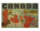 CANADA 2F- Handmade Leather Passport Cover / Travel Wallet - Travel Art