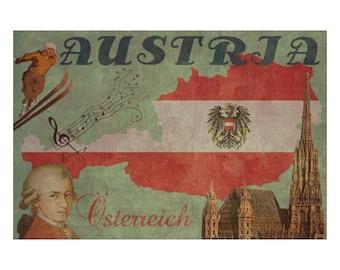 AUSTRIA 1F- Handmade Leather Passport Cover / Travel Wallet - Travel Art