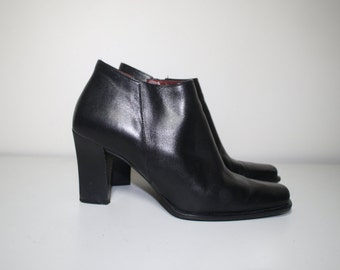 90s black leather square toe minimalist boots size 6.5