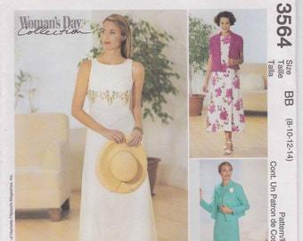 Sleeveless Dress Pattern Empire Waist Unlined Jacket Misses Size 8 - 14 uncut McCalls 3564