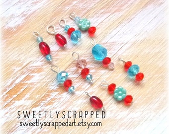 10 BLUES, REDS and Flowers Beaded Charm Mix ... Glass, Crystal, Variety, Retro, Pocket Letters, Scrapbooking, Cardmaking, Journal Supplies