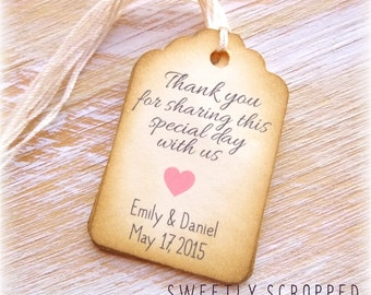 THANK YOU For Sharing Our Special Day WEDDING Tags ... Vintage, Shabby, Pink Heart, Bride, Groom