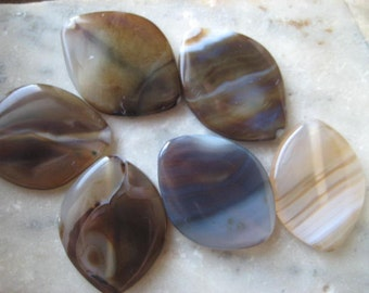 Banded Agate Beads: Large Brown Polished Natural Oval Semi-Precious Gemstone Focals, 40x30mm, 6 pcs.