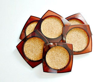 Vintage Coasters Lucite Acrylic Amber Brown Plastic with Cork Set of 6 Barware Mid Century