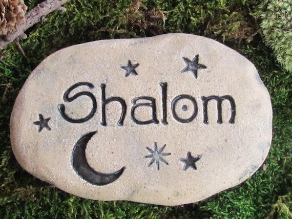 SHALOM gift. Shalom stone, rock. Moon, stars. Shalom art, shalom pottery. Rustic home decor. Inspiration. Garden decor. Night sky, Peaceful