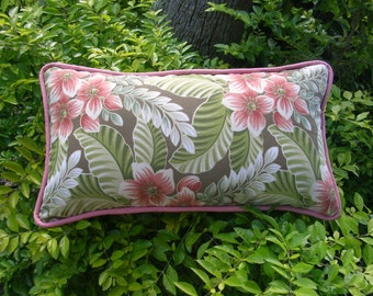 Outdoor Bolster Accent Pillow,  12 x 26 inches, tropical, floral