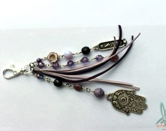 Pink bag charm - Long bohemian tote bag charm in purple with charms and glass beads