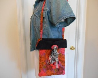 Orange, black & pink floral quilted hip bag Kaffe Fasset fabric