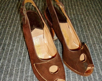 Brown Suede Leather PEEPTOE Vintage 1940's WWII Womens Pumps Shoes 5.5