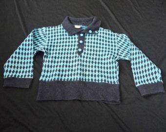 Harlequin Black & Blue Vintage 1950's Rockabilly Boys Shirt Sweater 4